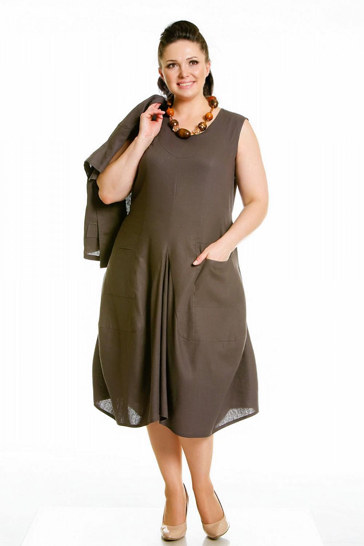 Платья из льна для полных женщин сшить 60